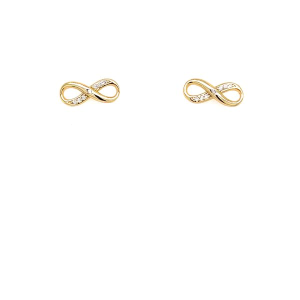 Yellow Gold Plated Infinity Stud Earrings Confer's Jewelers Bellefonte, PA