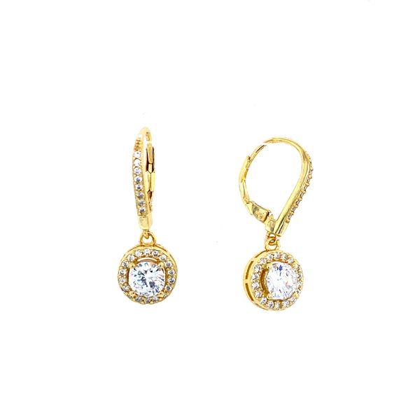 Sterling Silver CZ Halo Dangle Earrings Confer's Jewelers Bellefonte, PA