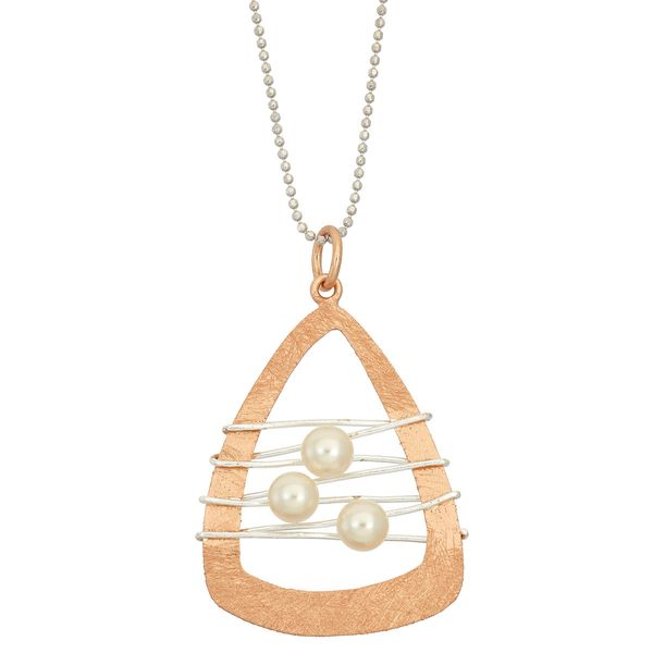 14KT Rose Gold and Silver Plated Dreamcatcher with Pearl Pendant Necklace Confer's Jewelers Bellefonte, PA