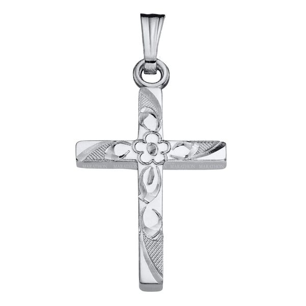 Sterling Silver Hand Engraved Cross Image 2 Confer's Jewelers Bellefonte, PA