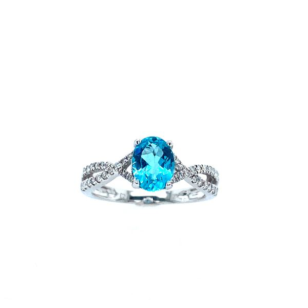 14k White Gold Apatite and Diamond Ring Confer's Jewelers Bellefonte, PA