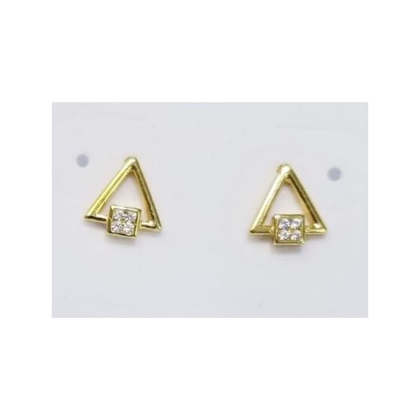Sterling Silver Yellow Gold Plated Triangle Earrings Confer's Jewelers Bellefonte, PA