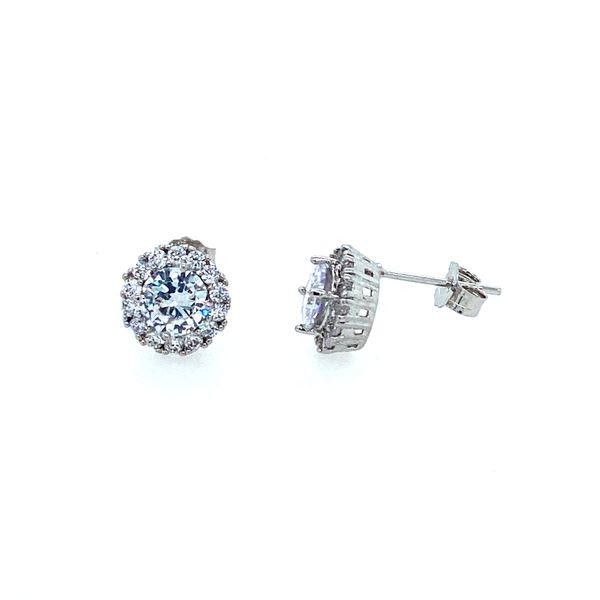 Sterling Silver Halo CZ Earrings Confer's Jewelers Bellefonte, PA
