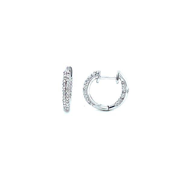 Sterling Silver Diamond Huggie Hoops Confer's Jewelers Bellefonte, PA
