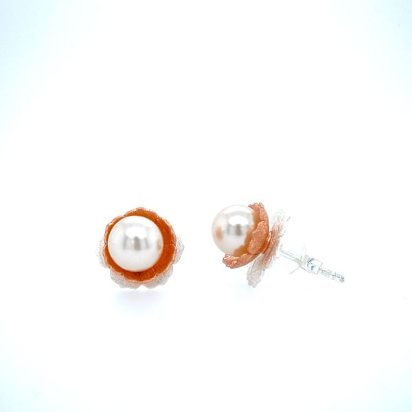 Sterling Silver Pearl Flower Earrings Confer's Jewelers Bellefonte, PA