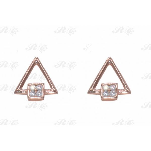 Sterling Silver Rose Gold Plated Triangle Earrings Confer's Jewelers Bellefonte, PA