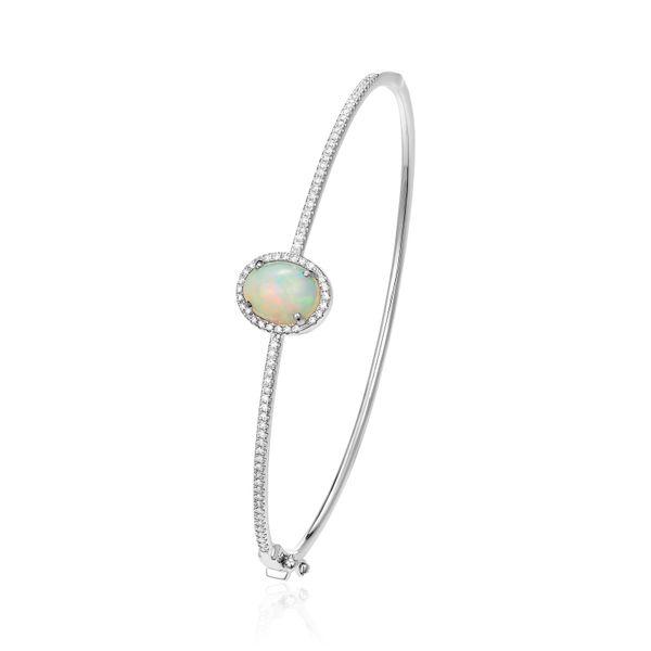 14k White Gold Opal and Diamond Bangle Bracelet Confer's Jewelers Bellefonte, PA