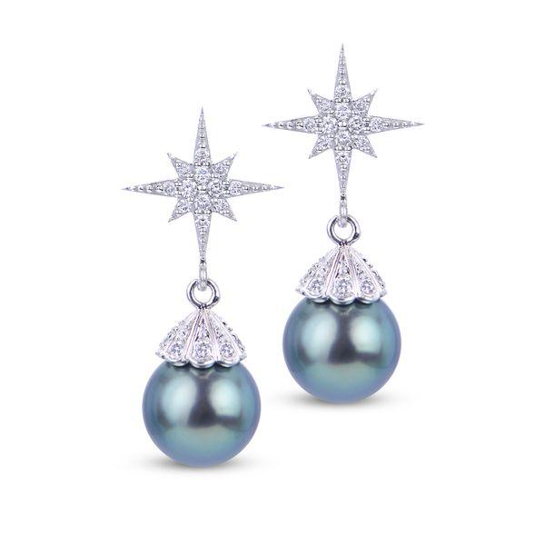 Tahitian Pearl and Diamond Star Drop Earrings Confer's Jewelers Bellefonte, PA
