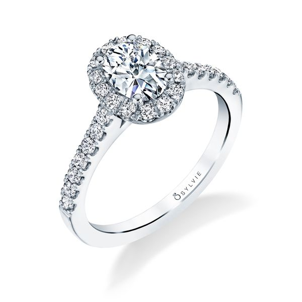 CLASSIC OVAL ENGAGEMENT RING WITH HALO - EMMA Cottage Hill Diamonds Elmhurst, IL