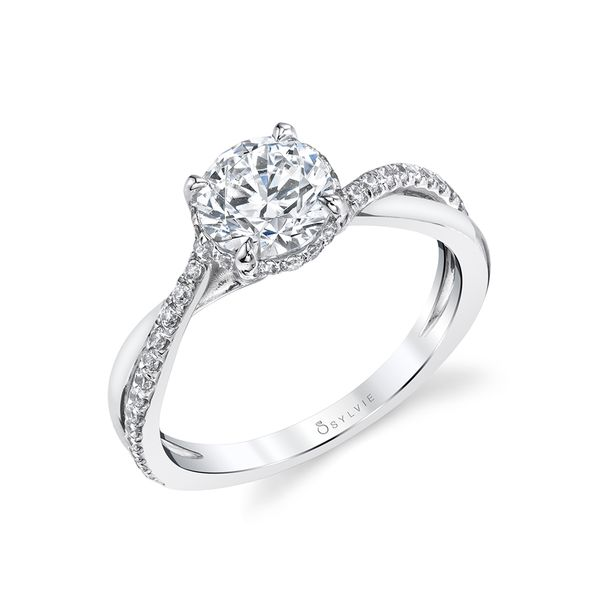 SPIRAL ENGAGEMENT RING WITH HIDDEN HALO - ILARIA Cottage Hill Diamonds Elmhurst, IL