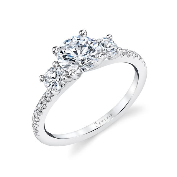 MODERN THREE STONE DIAMOND RING - GEMMA Cottage Hill Diamonds Elmhurst, IL