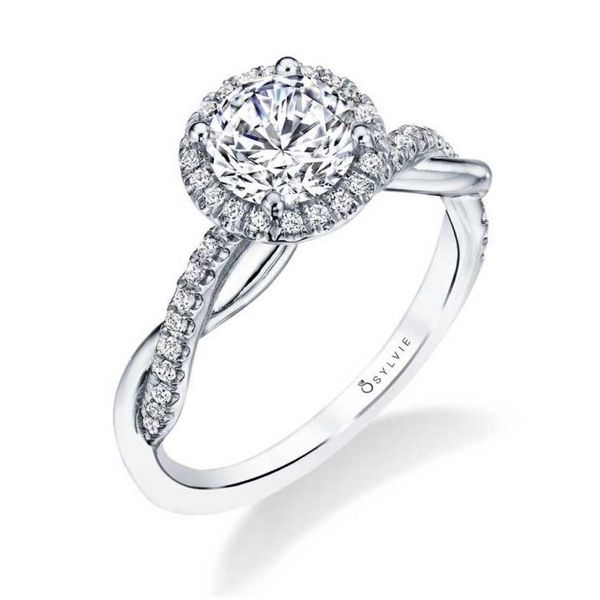 MODERN SPIRAL ENGAGEMENT RING WITH HALO - CORALIE Cottage Hill Diamonds Elmhurst, IL