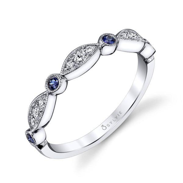 BLUE SAPPHIRE AND DIAMOND VINTAGE WEDDING BAND - TALIA Cottage Hill Diamonds Elmhurst, IL
