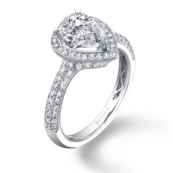 PEAR SHAPED ENGAGEMENT RING WITH HALO - ASTRIDE Cottage Hill Diamonds Elmhurst, IL