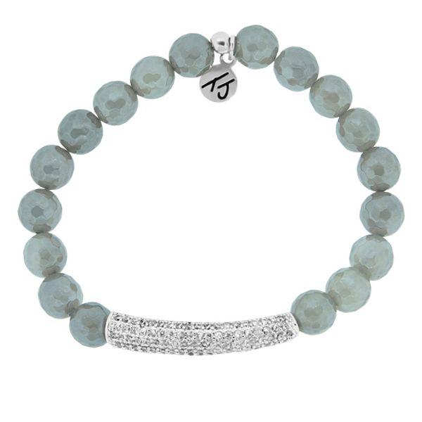 Grey Agate - Silver CZ Bar