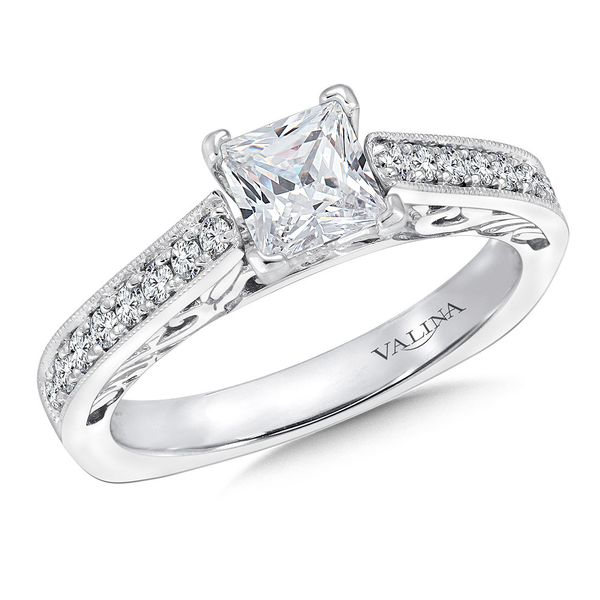 14k White Gold .23ctw Round Diamond Prong Set Semi Mount with Milgrain Accents Coughlin Jewelers St. Clair, MI