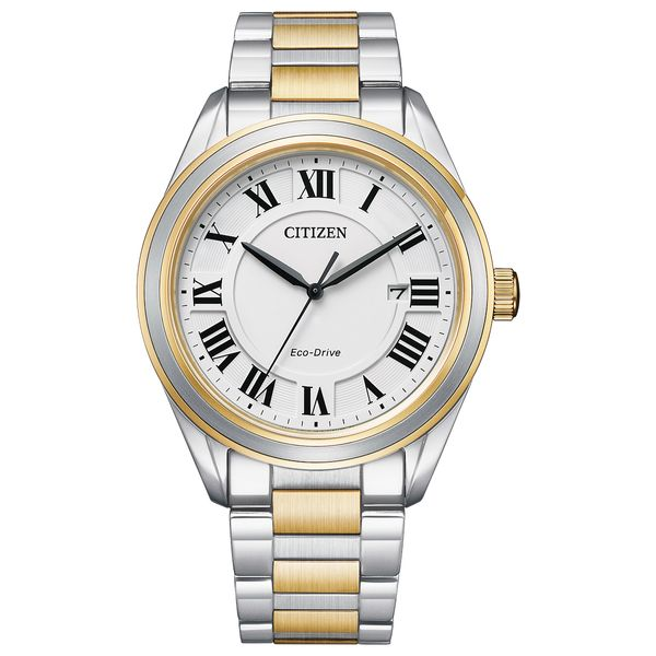 Men's Arezzo Two Tone Citizen Watch with White Dial Coughlin Jewelers St. Clair, MI