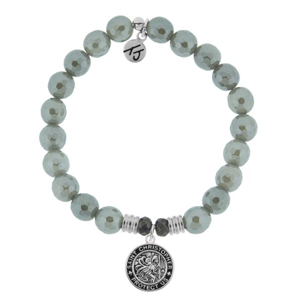 Grey Agate with St. Christopher Medal