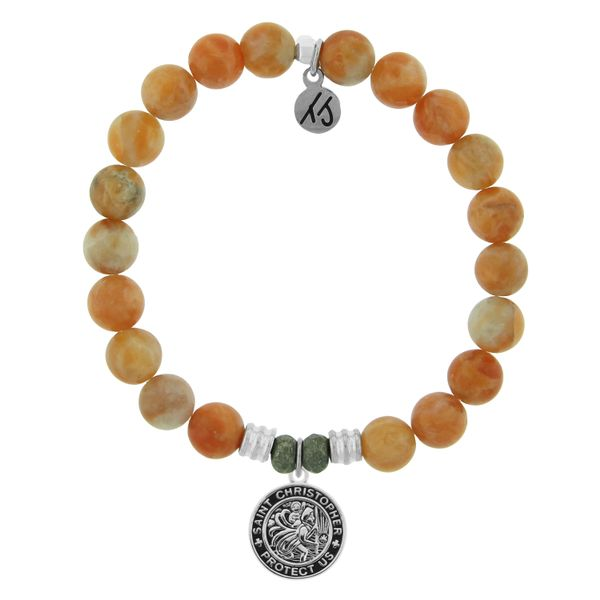 Orange Calcite with St. Christopher