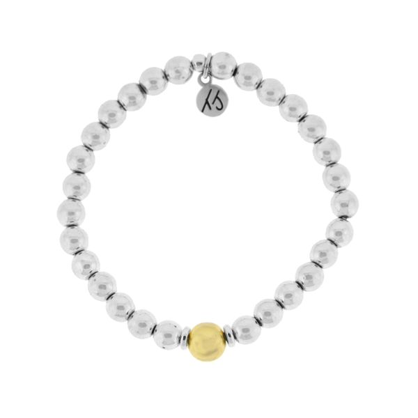Silver Hematite with Gold-Plated SS Ball