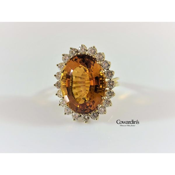 Est-1931 Citrine and Diamond Ring