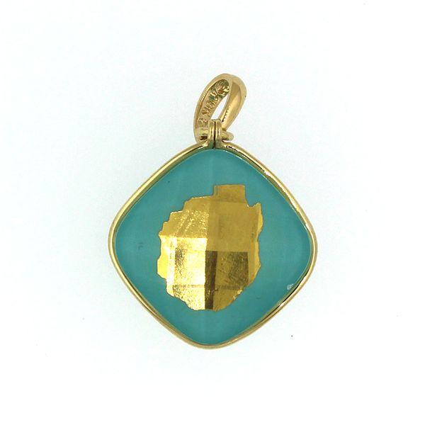 Gold Adirondack Blue Line Pendant-Turquoise and Lapis-MEDIUM-5/8