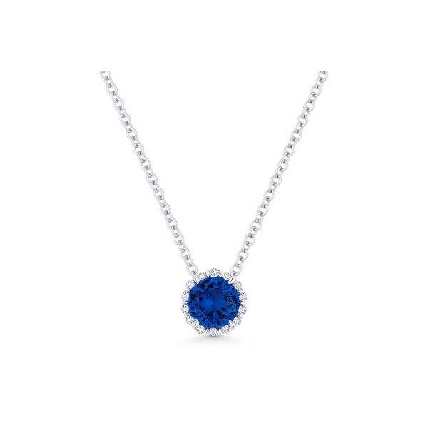 Lab Grown Blue Sapphire and Diamond Necklace Image 2 Darrah Cooper, Inc. Lake Placid, NY