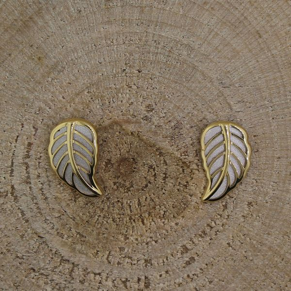 Yellow and White Gold Leaf Earrings Darrah Cooper, Inc. Lake Placid, NY