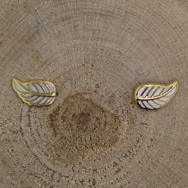 Yellow and White Gold Leaf Earrings Image 2 Darrah Cooper, Inc. Lake Placid, NY