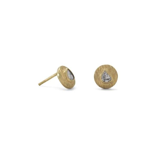 Gold Plated Natural Raw Grey Diamond Earrings Image 2 Darrah Cooper, Inc. Lake Placid, NY