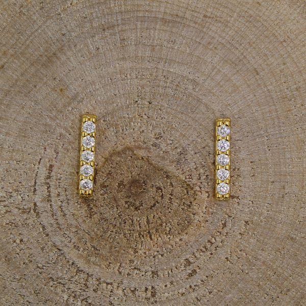 Gold Plated Cubic Zirconia Bar Earrings Darrah Cooper, Inc. Lake Placid, NY