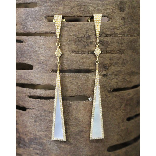 Mother of Pearl and Diamond Earrings Darrah Cooper, Inc. Lake Placid, NY