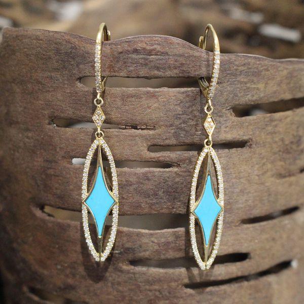 Turquoise and Diamond Dangle Earrings Darrah Cooper, Inc. Lake Placid, NY