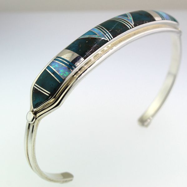 Turquoise and Synthetic Opal Cuff Bracelet Image 2 Darrah Cooper, Inc. Lake Placid, NY