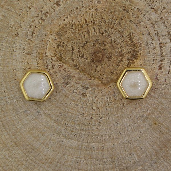 White Enamel Hexagon earrings Darrah Cooper, Inc. Lake Placid, NY