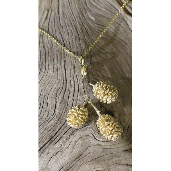 Triple Pine Cone on Branch Necklace Darrah Cooper, Inc. Lake Placid, NY