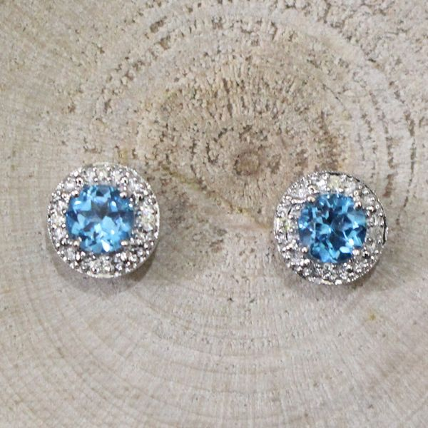 Swiss Blue topaz and Diamond Earrings Darrah Cooper, Inc. Lake Placid, NY