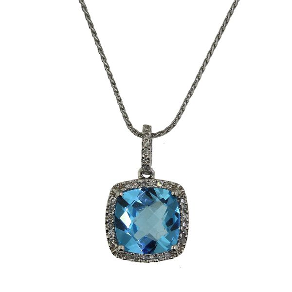 Blue Topaz and Diamond Necklace Darrah Cooper, Inc. Lake Placid, NY