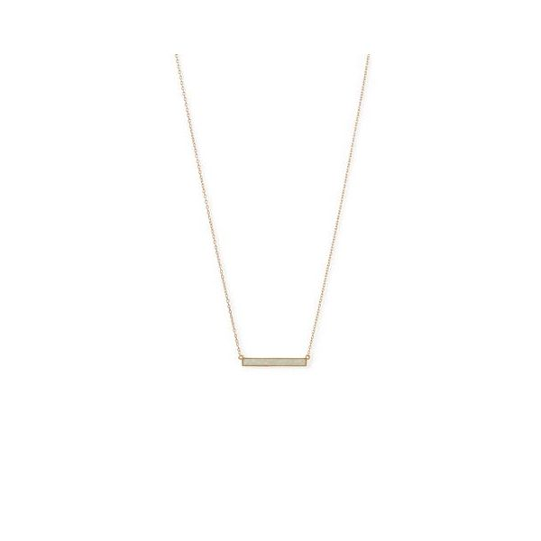 Gold Plated White Synthetic Opal Bar Necklace Darrah Cooper, Inc. Lake Placid, NY