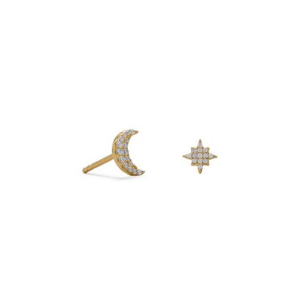 Gold Plated Cubic Zirconia Crescent Moon & Star Earrings Darrah Cooper, Inc. Lake Placid, NY