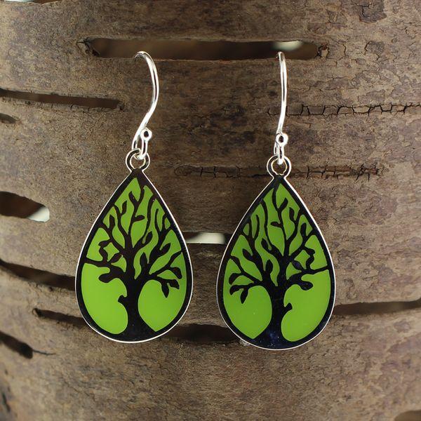 Green Resin Tree Earrings Darrah Cooper, Inc. Lake Placid, NY