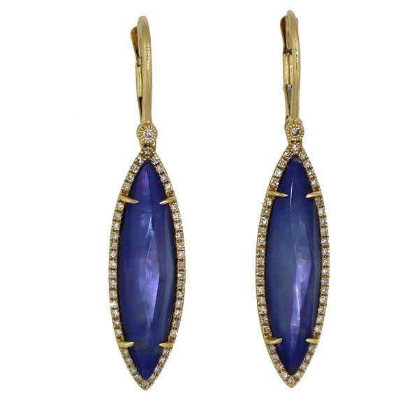 Lapis Lazuli, Shimmer Quartz, and Diamond Earrings Darrah Cooper, Inc. Lake Placid, NY