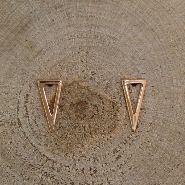 Rose Gold Open Triangle Stud Earrings Darrah Cooper, Inc. Lake Placid, NY