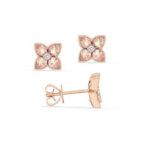 Morganite and Diamond Flower Earrings Darrah Cooper, Inc. Lake Placid, NY