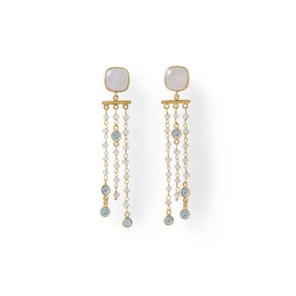Gold Plated Moonstone and Topaz Cascading Earrings Darrah Cooper, Inc. Lake Placid, NY