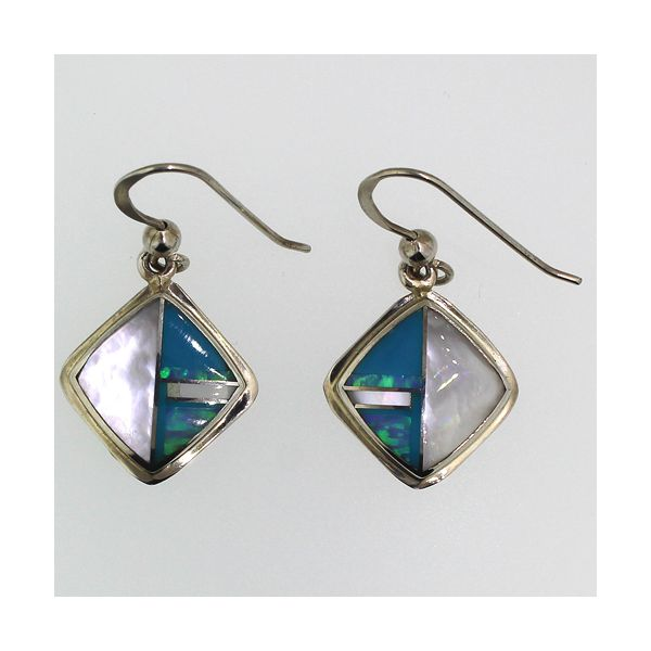 Mother of Pearl, Turquoise, Synthetic Opal Earrings Darrah Cooper, Inc. Lake Placid, NY