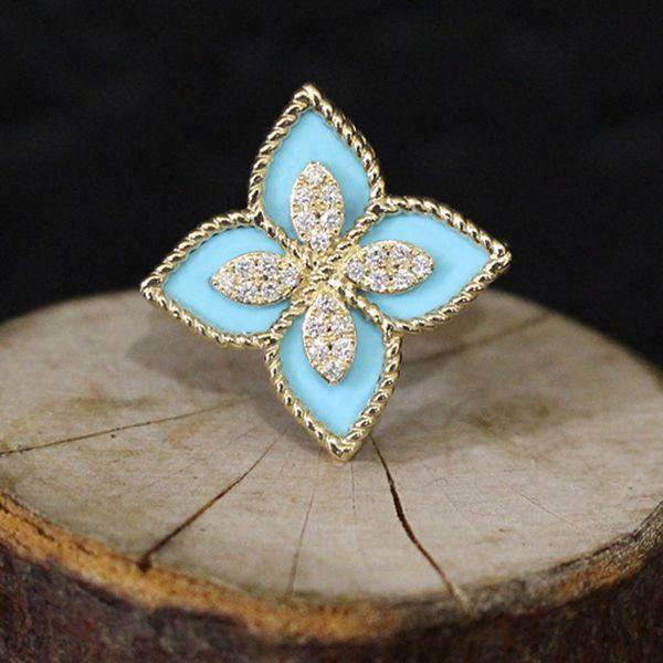 Turquoise and Diamond Flower Ring Darrah Cooper, Inc. Lake Placid, NY