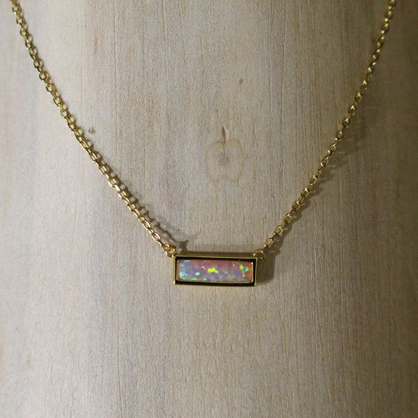 Gold Plated Synthetic Opal Necklace Darrah Cooper, Inc. Lake Placid, NY