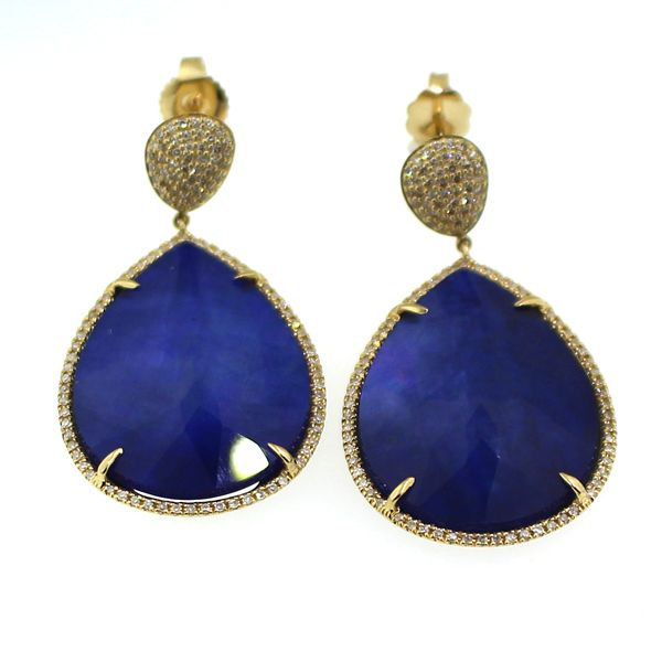 Lapis, Shimmer Quartz, and Diamond Earrings Darrah Cooper, Inc. Lake Placid, NY