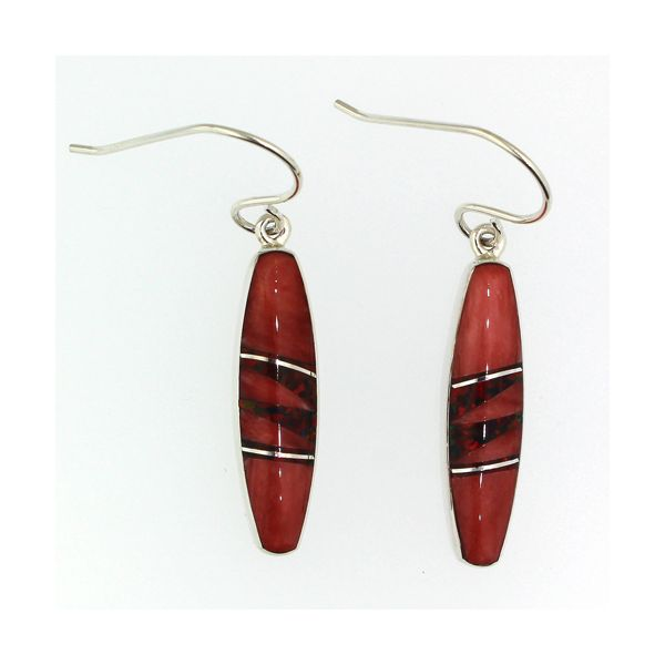 Red Mother of Pearl Shell and Synthetic Opal Earrings Darrah Cooper, Inc. Lake Placid, NY